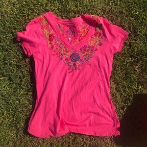 Johnny Was hot pink embroidered t-shirt large
